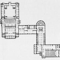 План первого этажа Дома культуры Ижорского завода. Проект 1937—1938 гг.