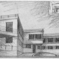 Больница имени С.П. Боткина в Ленинграде. Перспективный набросок, перспектива здания прозекторской