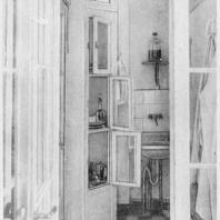 Больница имени С.П. Боткина в Ленинграде. Шлюз для персонала при однокоечной палате-боксе; вид из центрального коридора павильона
