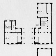 Фасад, планы первого и второго этажей школы на Моховой улице
