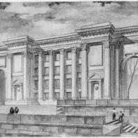Перспектива к техническому проекту школы (выполнена арх. В. Дроздовым)