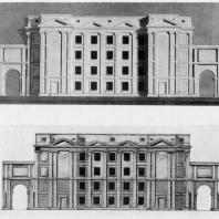 Модель утвержденного проекта школы и эскиз переработки фасада в 1946 г.