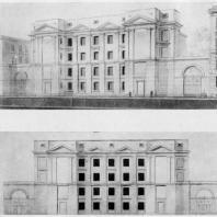Перспектива и фасад школы, 1946 г.