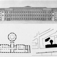 А.И. Гегелло. Фасад бани на улице Чайковского (промежуточный вариант проекта). План первого этажа и генеральный план (один из первых вариантов проекта)