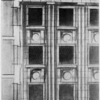 А.И. Гегелло. Эскиз фрагмента фасада к первому варианту проекта