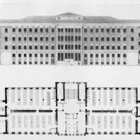А.И. Гегелло. Фасад и план третьего этажа бани. Окончательный проект