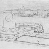 Мемориальная доска-стела крейсера «Аврора». Эскизная перспектива стелы и набережной