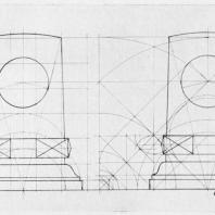 Мемориальная доска-стела крейсера «Аврора». Схемы пропорций стелы на основе отношений простых чисел и по канону Поликлета