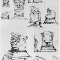 А.И. Гегелло. Эскизы надгробного памятника арх. И. А. Фомину. 1937 г. Первый лист