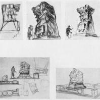 А.И. Гегелло. Эскизы надгробного памятника И. А. Фомину. 1937 г. Второй и третий листы
