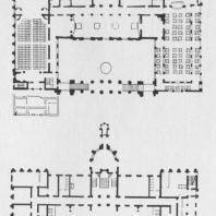 Проект дома работников науки и искусств БССР в Минске. Планы первого и второго этажей. Конкурсный проект