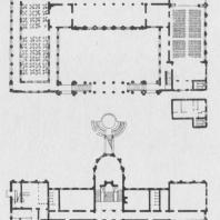 Проект дома работников науки и искусств БССР в Минске. Планы первого и второго этажей. Технический проект