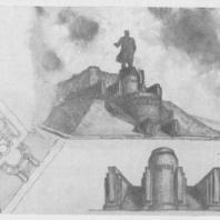 Конкурсный проект памятника В.И. Ленину в Казани. Эскизы. Третий лист
