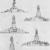Памятник В.И. Ленину в Казани. Эскизы окончательного варианта памятника с трибуной. Второй лист