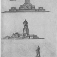 Памятник В.И. Ленину в Казани. Эскизы окончательного варианта памятника с трибуной. Третий лист