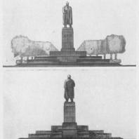 Памятник В.И. Ленину в Казани. Передний и задний фасады памятника с трибуной. Утвержденный проект