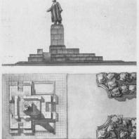 Памятник В.И. Ленину в Казани. Боковой фасад и план памятника с трибуной. Утвержденный проект