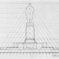 Схема пропорций главного и бокового фасадов памятника В.И. Ленину в Казани