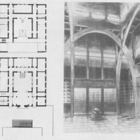 А.И. Гегелло. Проект крематория для Ленинграда. 1930 г. Перспектива внутреннего зала и планы