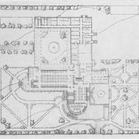 А.И. Гегелло. Проект столовой Совнаркома Казахской ССР в Алма-Ате. Перспектива и план первого этажа