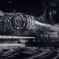 Н.Н. Купреянов. Крейсер «Аврора». Гравюра на дереве. 1922 г.