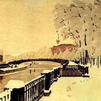 А.П. Остроумова-Лебедева. Летний сад в инее. Фонтанка. Цветная гравюра на дереве. 1929 г. Москва, Третьяковская галерея