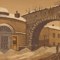 И.Н. Павлов. Проломные ворота в Зарядье. Из серии «Старая Москва». Гравюра на дереве. 1919 — 1924 гг.