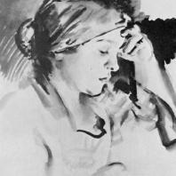 Н.А. Тырса. Женский портрет. Ламповая копоть, кисть. 1928 г. Москва, Третьяковская галерея