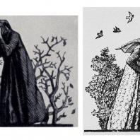 А.Д. Гончаров. Шмуцтитулы к «Избранной лирике» Петрарки. Гравюра на дереве. 1955 г.