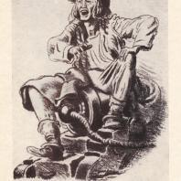 Е.А. Кибрик. Иллюстрация к роману Ш. де Костера «Легенда об Уленшпигеле». Цветная литография. 1937 — 1938 гг.