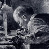 Е.А. Кибрик. В.И. Ленин в подполье. Фрагмент. Из серии «В.И. Ленин в 1917 году». Уголь. 1947 г. Москва, Центральный музей В.И. Ленина