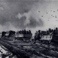 Н.Н. Жуков. Дорога на фронт. Тушь, перо. 1943 г. Москва, Третьяковская галерея