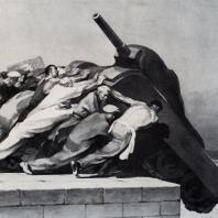 Б.И. Пророков. Танки агрессора на дно! Из серии «За мир». Тушь. 1950 г. Москва, Третьяковская галерея