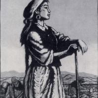 Л.А. Ильина. Свекловичница. Цветная гравюра на линолеуме. 1956 г.
