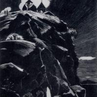 М.Г. Абегян. Скалы Бжии. Гравюра на линолеуме. 1959 г.