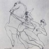 В.Д. Гудиашвили. Охота. Рисунок пером. 1926 г. Москва, Третьяковская галерея