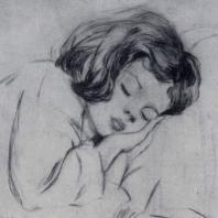 А.Г. Бах-Лийманд. Спящий ребенок. Сухая игла. 1955 г.