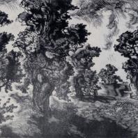 П.А. Упитис. Дубы. Из серии «Гауя». Гравюра на дереве. 1957 г.