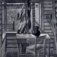 Г.Ф. Захаров. Пейзаж с охотником. Гравюра на линолеуме. 1964 г.