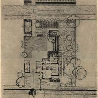 Рис. 1. План построек и усадьбы односемейного колхозного жилища с несгораемыми стенами