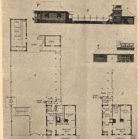 Рис. 5. а) план построек односемейного колхозного жилища в две жилых комнаты с рублеными стенами; б) вариант плана с увеличением числа жилых комнат до трех; в) боковой фасад дома и служб; г) дворовый фасад служб