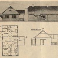 Рис. 11. Эскизный проект жилого дома для колхозной семьи на 3—6 чел. (МОЗУ)