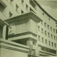 Жилой дом Ленинградского Совета. Деталь главного фасада