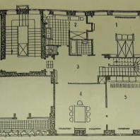 Жилой дом Ленинградского Совета. 2-этажная квартира — план 1-го этажа: 1 — спальня, 2 — комната домработницы, 3 — передняя-холл, 4 — столовая, 5 — детская