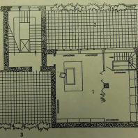 Жилой дом Ленинградского Совета. 2-этажная квартира-план 2-го этажа: 1 — кабинет, 2 — плоская кровля-терраса в сторону двора, 3 — солярий в сторону набережной