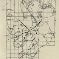 Схема линий московского метрополитена к 1937 году. Утверждена в 1932 г. (план № 3). Первая очередь обозначена сплошной жирной чертой; первая часть второй очереди - жирным пунктиром