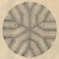 Рис. 8. Схема идеального узла дорожной сети для наилучшей рентабельности обслуживания тракторами из одного центра (по материалам Ф.С. Материкина)