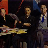 П.Д. Корин. Кукрыниксы (групповой портрет художников М. В. Куприянова, П. Н. Крылова и Н. А. Соколова). 1958 г. Москва, Третьяковская галерея