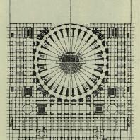 Дворец Советов. План стилобата на отметке 135,50 м