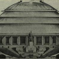 Дворец Советов. Поперечный разрез Большого зала. Бригада арх. А. Хрякова